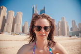 Young Female At The Seashore Taking Selfie — Stock Photo