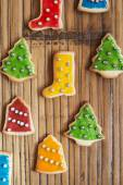 Christmas homemade colorful cookies on wooden table — Foto Stock