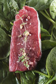 Raw beef tenderloin with spices with vegetables — Stock Photo