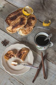 Dish with torrijas, typical spanish dessert in easter with woode — Stock Photo
