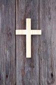 Cross christian wooden wall old church background — Fotografia Stock