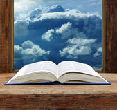 Bible open book  wooden window sky view stormy cloud — Stock Photo