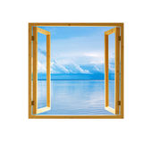 Frame window open wooden sky water clouds view background — Stock Photo
