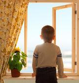Child looking through open window wooden sea sky view — Stock Photo