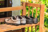 Old shoe on rack — Foto de Stock