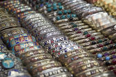 Different bracelets on a street market in Kathmandu — Zdjęcie stockowe