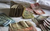 Various Nepalese money - a lot of banknotes — Stock Photo