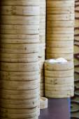 Stack of bamboo rice steamers — Stock Photo