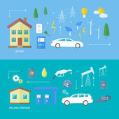 Electric cars and petrol car — Stock Vector