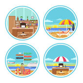 Business man dreaming about his holidays — Stock Vector