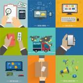 Seo, social media. Internet shopping process — Stock Vector