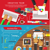 Team of designers working together on a computer — Stock Vector
