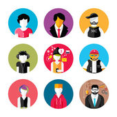 Set of stylish avatars of man and woman icons — Stok Vektör