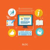 Blogging and writing for website — Stock Vector