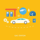 Car in gas station. Fuel petrol dispenser pump handles and pillars — Stock Vector