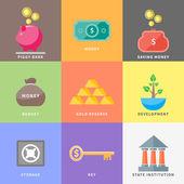 Dollar, money tree, purse, coin box pig, bank — Stock Vector