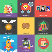 Icons for cash transactions, headwork, strategy, start up — 图库矢量图片
