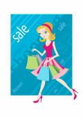 Shopping sale girl woman goes and showing shopping bags — Stockvektor