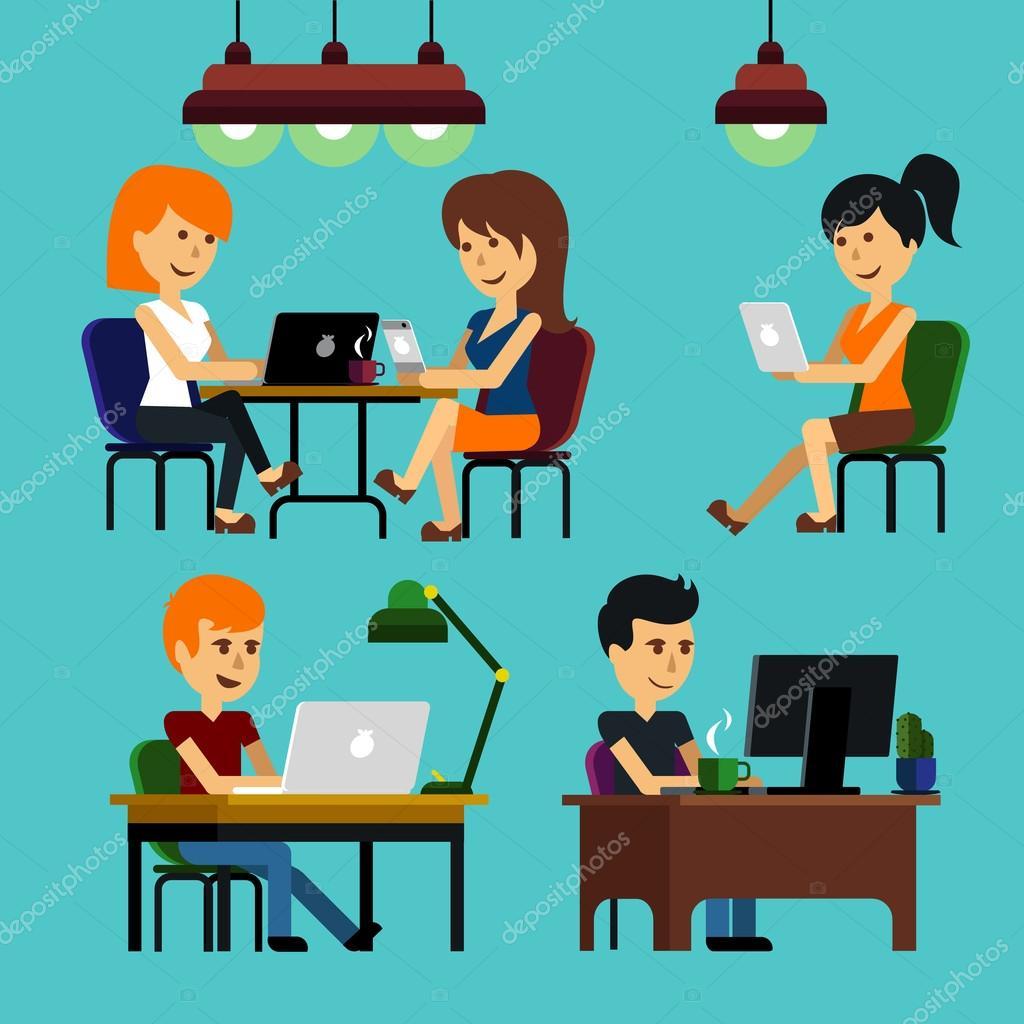 People Man Woman Guy Sitting On Chair At Table In Front Of Computer Laptop Monitor And Shining Lamp Cartoon Flat Design Style Vector By Robuart