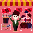 Man chooses perfect clothes and a hat in the store — Stock Vector #55483639