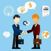 Happy business man make handshake exchange case — Stock Vector