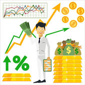 Happy man trader holding dollars in hand — Stock Vector