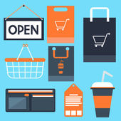 Shopping icons set basket bag label tag purse — Stock Vector