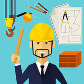 Architect constructor worker at his work place — Stock Vector
