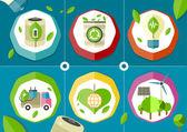 Eco icons green battery car — Stock Vector