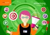 Advertising expert of marketing profession series — Stockvector