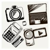 Sheet of paper with camera laptop cash mashines — Stock Vector