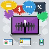 Concept of online meeting, conference, webinars — Stock Vector