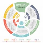 Timeline infographic, 5 steps — Stock Vector