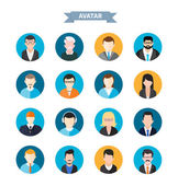 Set of stylish avatars man and woman icons — Stock Vector