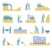 Set of builder construction industry icons — Stock Vector