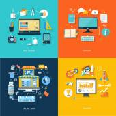 Internet shopping web design promote content — Vector de stock