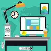 Local de trabalho com computador e mapa — Vetor de Stock