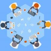 Office workers on meeting and brainstorming — Vetor de Stock