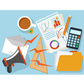 Workplace with office object and documents — Stock Vector