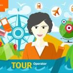 Female travel agent holding globe — Stock Vector #57893259