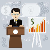 Business meeting and presentation — Stock Vector