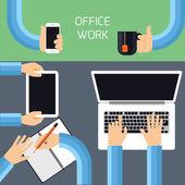 Businessmen hands with different office activities — Vetor de Stock