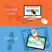 Start up, pay per click — Stock Vector