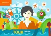 Female travel agent holding globe — Stock Vector