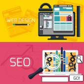 SEO optimization and web design banners — Stock Vector