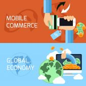 Mobile commerce global economy — Stock Vector