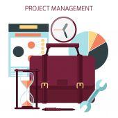 Flat design of project management — Stockvektor
