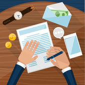 Businessman signs up document — Stock Vector