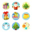 Set of 9 christmas icons on white background — Stock Vector #58694913