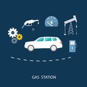 Car in gas station. Fuel petrol dispenser pump — Stock Vector